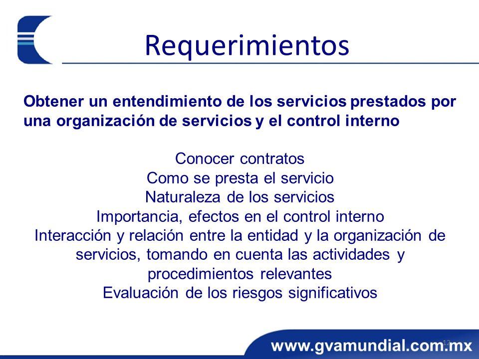 Obtener un entendimiento de los servicios prestados por una organización de servicios y el control interno Conocer contratos Como se presta el servici