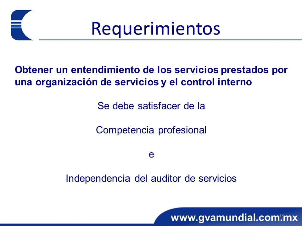 Obtener un entendimiento de los servicios prestados por una organización de servicios y el control interno Se debe satisfacer de la Competencia profes