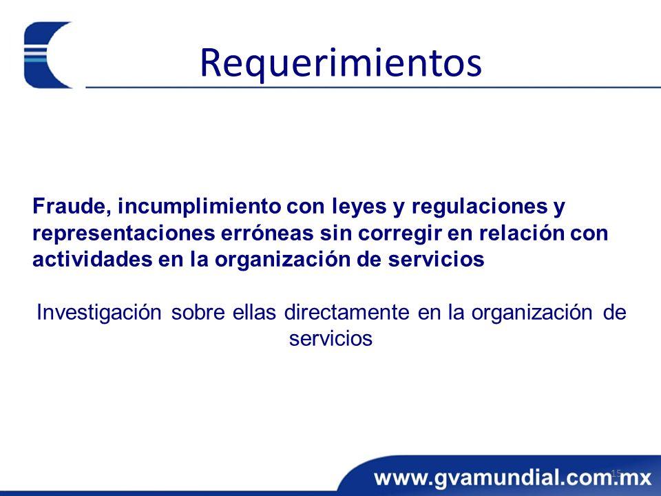 Fraude, incumplimiento con leyes y regulaciones y representaciones erróneas sin corregir en relación con actividades en la organización de servicios I