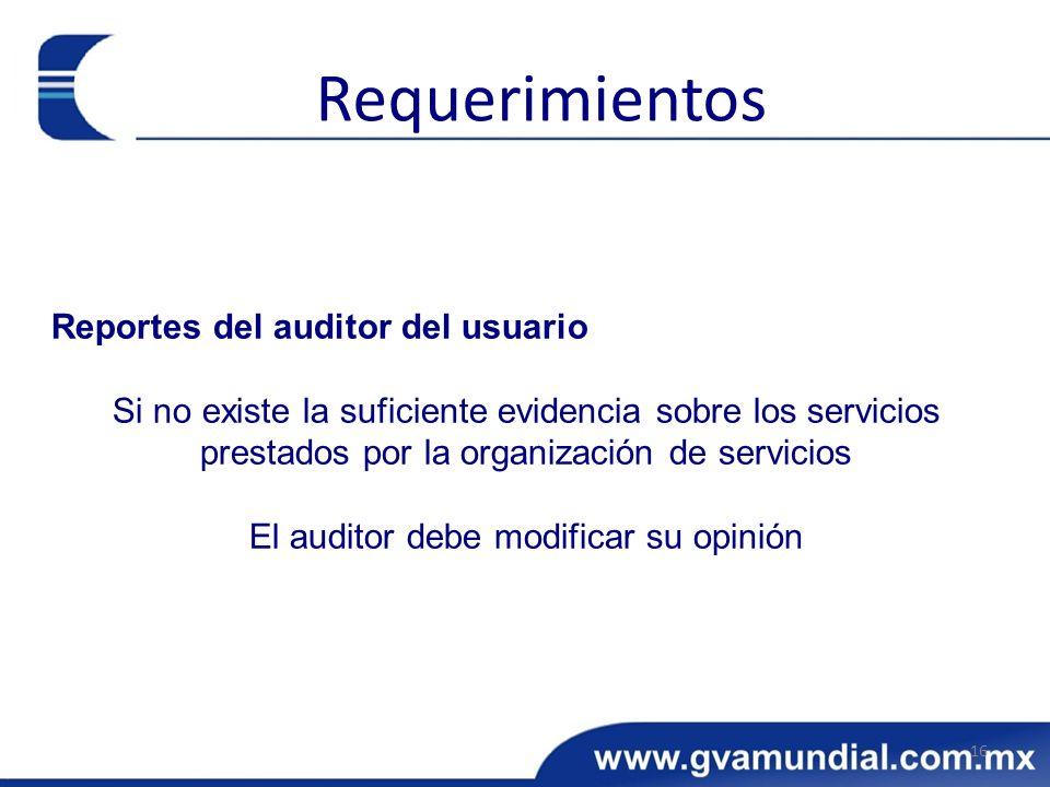 Reportes del auditor del usuario Si no existe la suficiente evidencia sobre los servicios prestados por la organización de servicios El auditor debe m