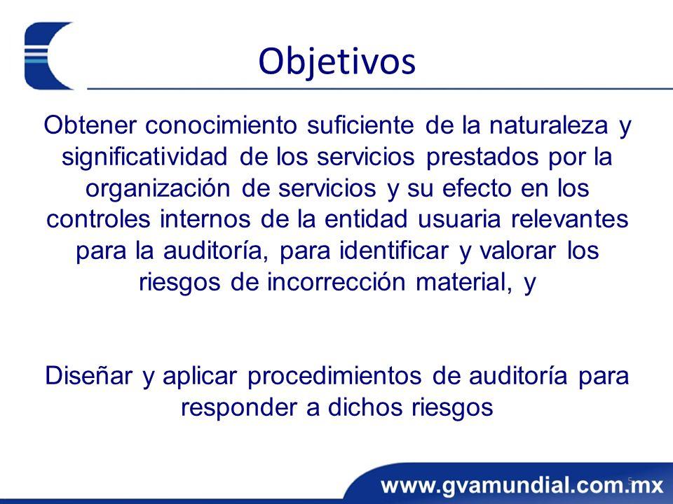 Obtener conocimiento suficiente de la naturaleza y significatividad de los servicios prestados por la organización de servicios y su efecto en los con