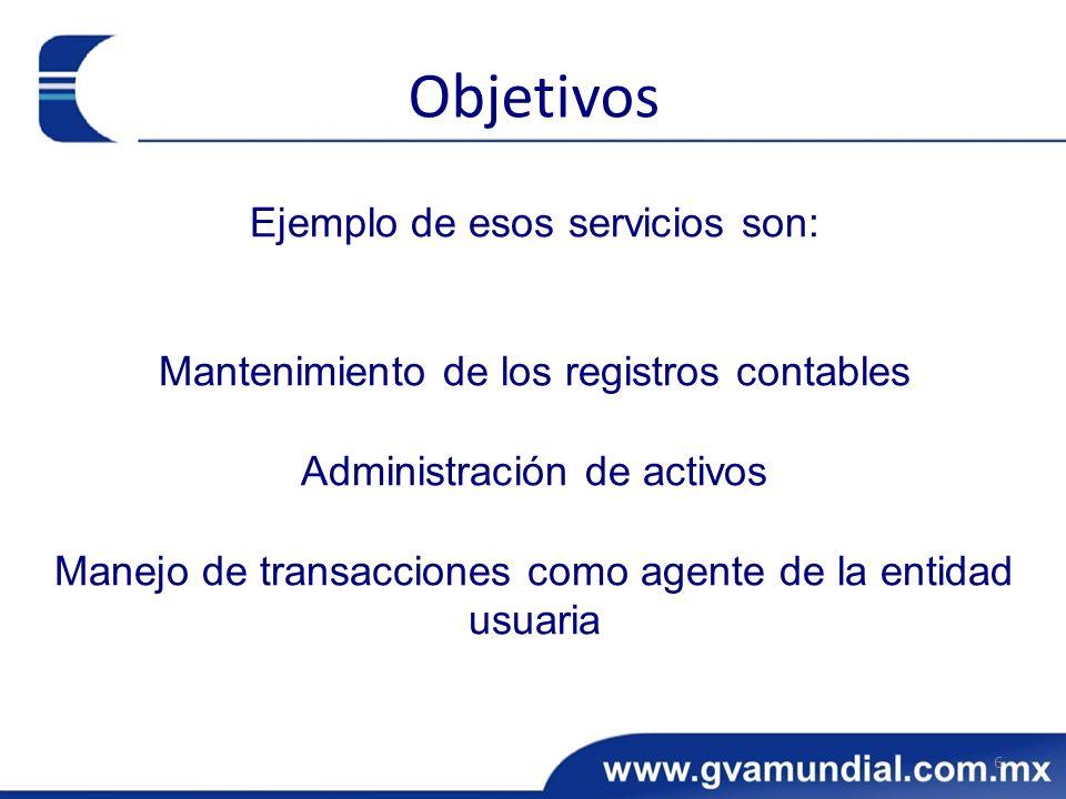 Ejemplo de esos servicios son: Mantenimiento de los registros contables Administración de activos Manejo de transacciones como agente de la entidad us