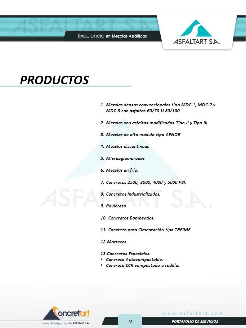 12 www.asfaltart.com PORTAFOLIO DE SERVICIOS PRODUCTOS 1.Mezclas densas convencionales tipo MDC-1, MDC-2 y MDC-3 con asfaltos 60/70 U 80/100.