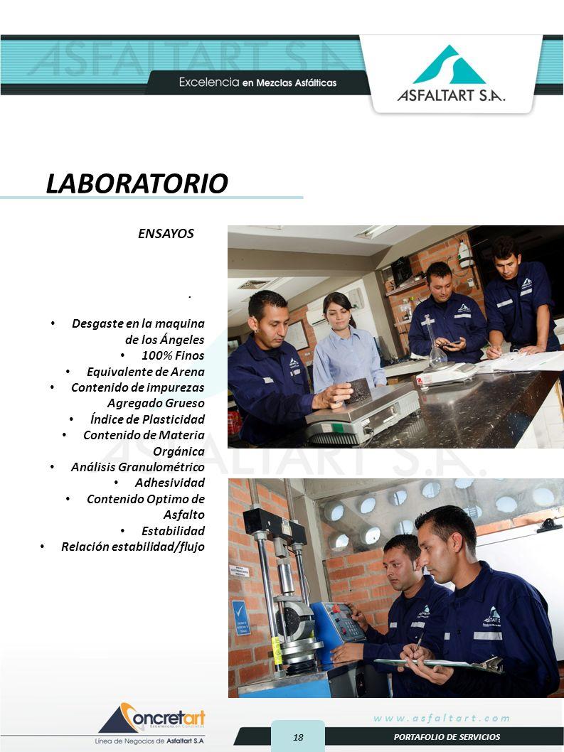 18 www.asfaltart.com PORTAFOLIO DE SERVICIOS.