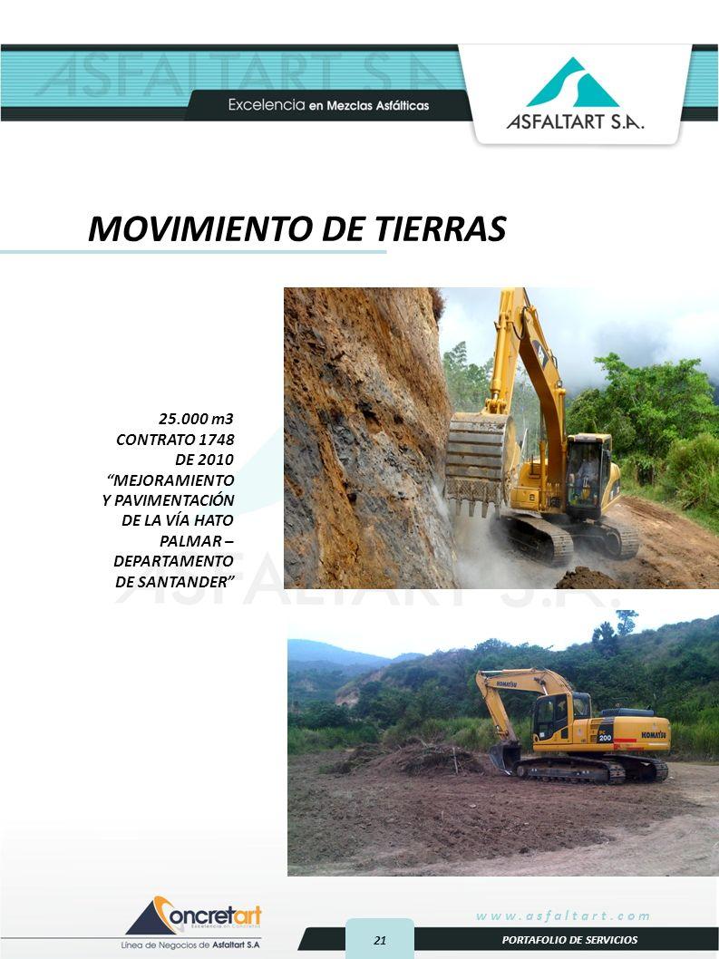 21 www.asfaltart.com PORTAFOLIO DE SERVICIOS 25.000 m3 CONTRATO 1748 DE 2010 MEJORAMIENTO Y PAVIMENTACIÓN DE LA VÍA HATO PALMAR – DEPARTAMENTO DE SANTANDER MOVIMIENTO DE TIERRAS