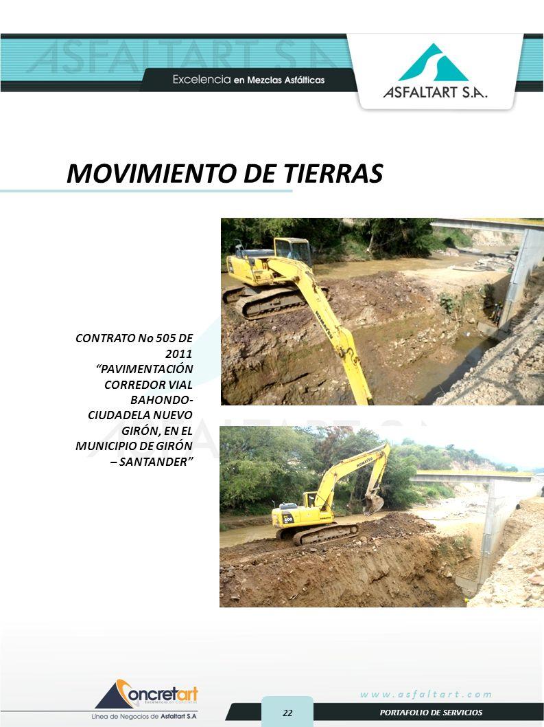 22 www.asfaltart.com PORTAFOLIO DE SERVICIOS CONTRATO No 505 DE 2011 PAVIMENTACIÓN CORREDOR VIAL BAHONDO- CIUDADELA NUEVO GIRÓN, EN EL MUNICIPIO DE GIRÓN – SANTANDER MOVIMIENTO DE TIERRAS