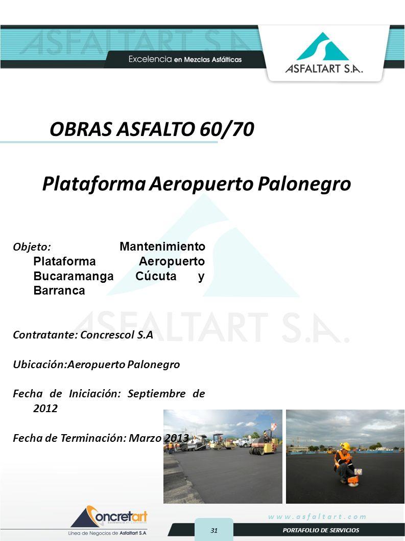 31 www.asfaltart.com PORTAFOLIO DE SERVICIOS Plataforma Aeropuerto Palonegro OBRAS ASFALTO 60/70 Objeto: Mantenimiento Plataforma Aeropuerto Bucaramanga Cúcuta y Barranca Contratante: Concrescol S.A Ubicación:Aeropuerto Palonegro Fecha de Iniciación: Septiembre de 2012 Fecha de Terminación: Marzo 2013