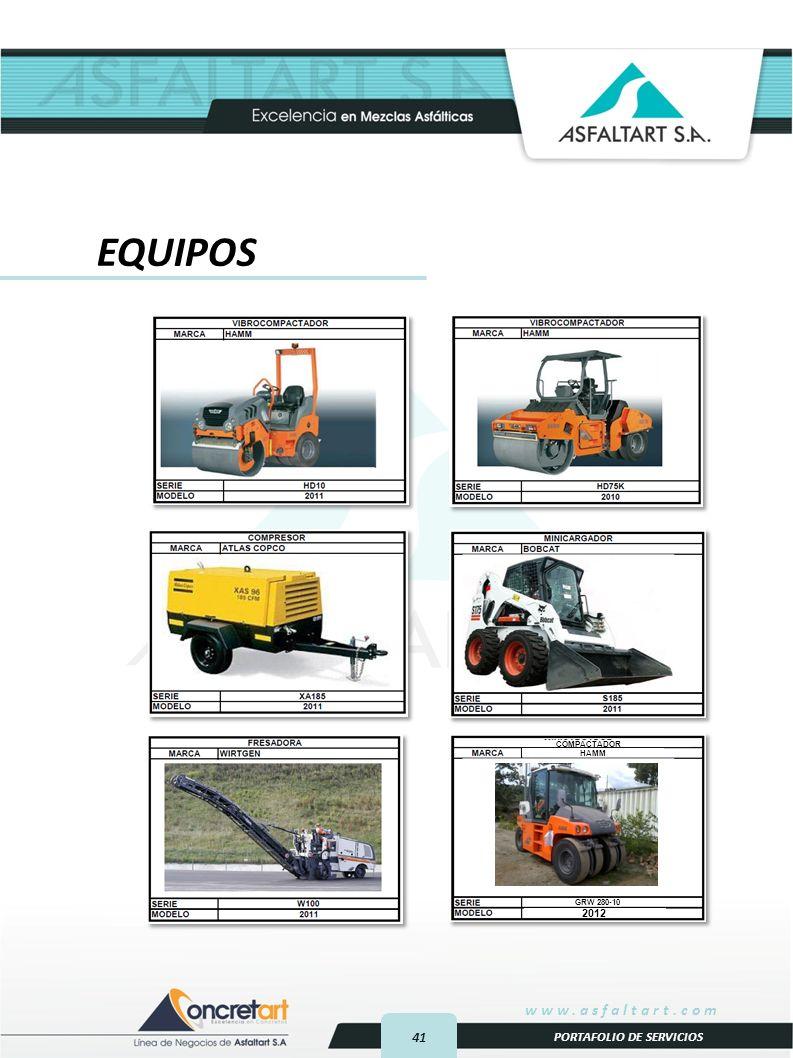 41 www.asfaltart.com PORTAFOLIO DE SERVICIOS EQUIPOS COMPACTADOR 2012 HAMM GRW 280-10