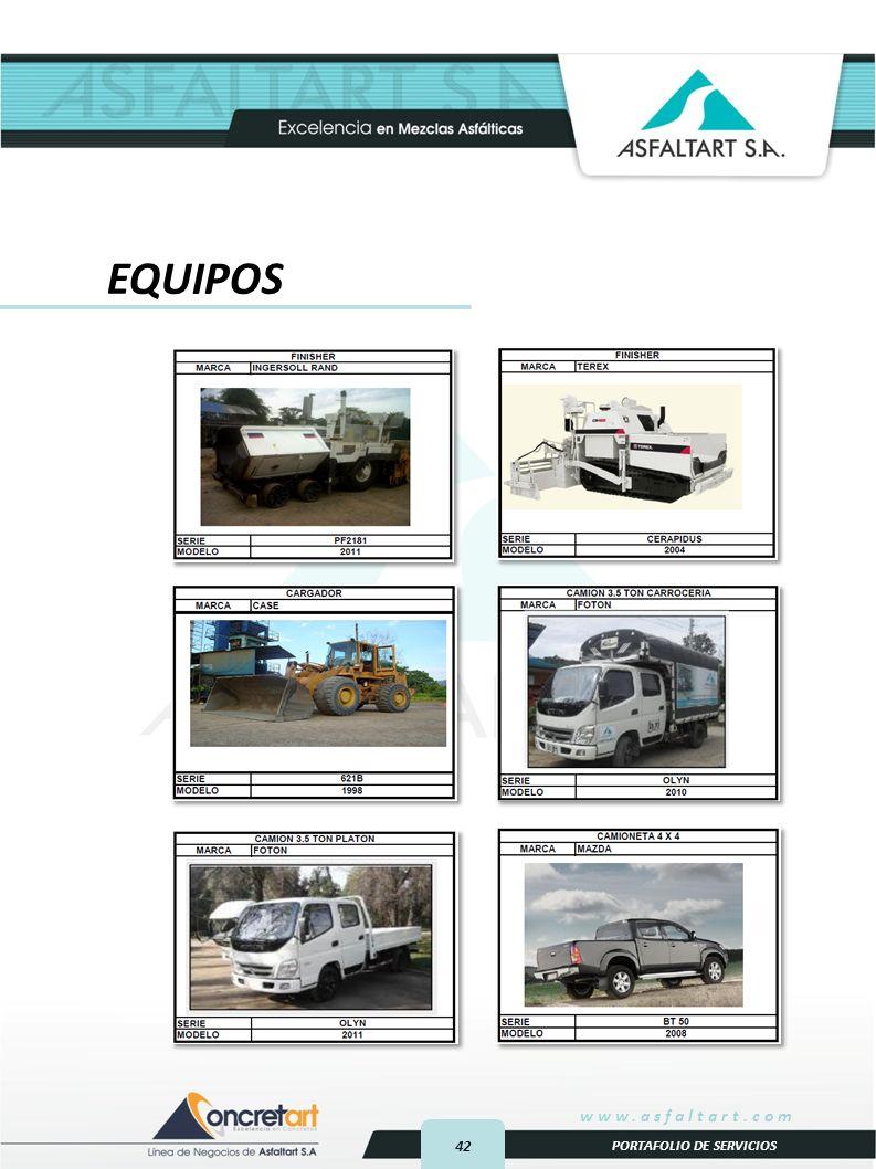 42 www.asfaltart.com PORTAFOLIO DE SERVICIOS EQUIPOS