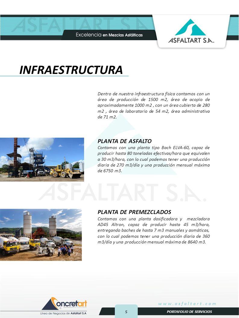 5 www.asfaltart.com PORTAFOLIO DE SERVICIOS INFRAESTRUCTURA Dentro de nuestra infraestructura física contamos con un área de producción de 1500 m2, área de acopio de aproximadamente 1000 m2, con un área cubierta de 280 m2, área de laboratorio de 54 m2, área administrativa de 71 m2.