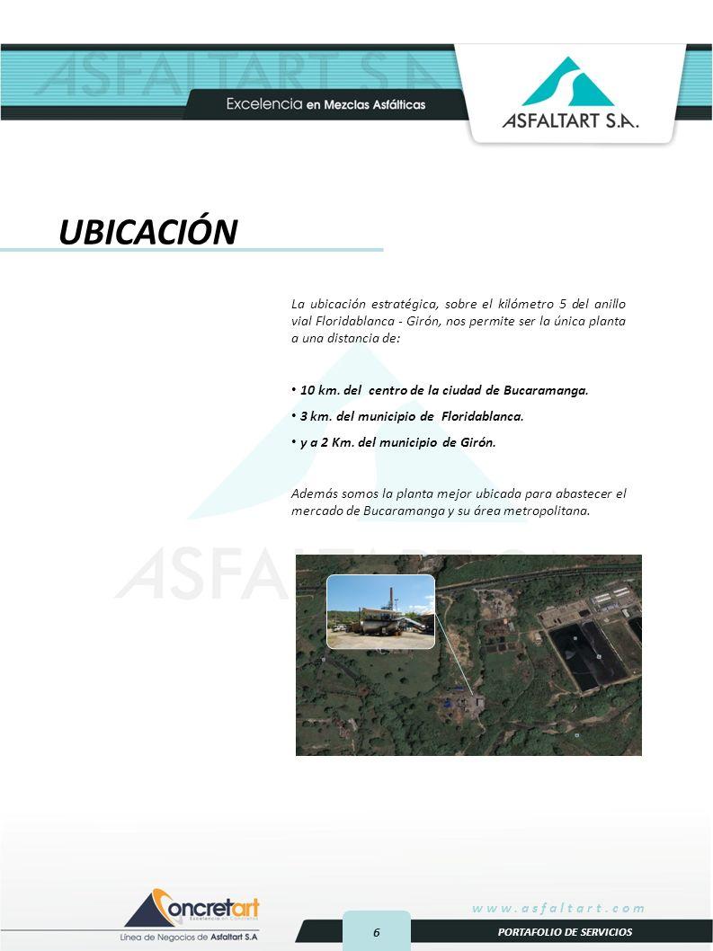 6 www.asfaltart.com PORTAFOLIO DE SERVICIOS UBICACIÓN La ubicación estratégica, sobre el kilómetro 5 del anillo vial Floridablanca - Girón, nos permite ser la única planta a una distancia de: 10 km.