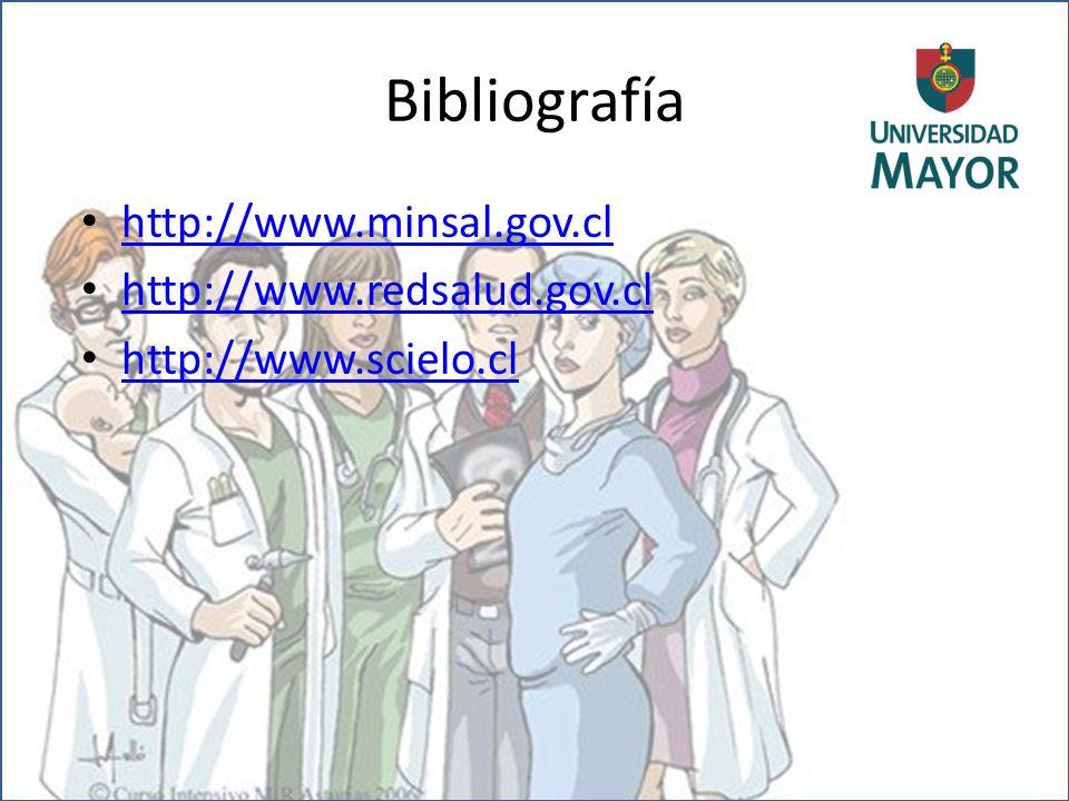 Bibliografía http://www.minsal.gov.cl http://www.redsalud.gov.cl http://www.scielo.cl