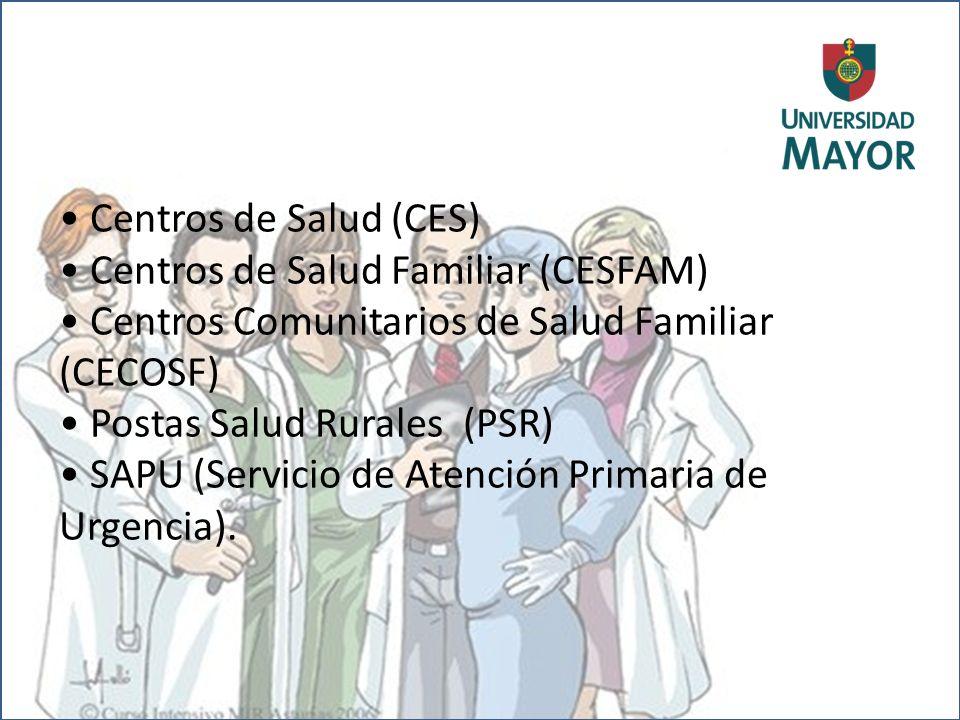 Centros de Salud (CES) Centros de Salud Familiar (CESFAM) Centros Comunitarios de Salud Familiar (CECOSF) Postas Salud Rurales (PSR) SAPU (Servicio de