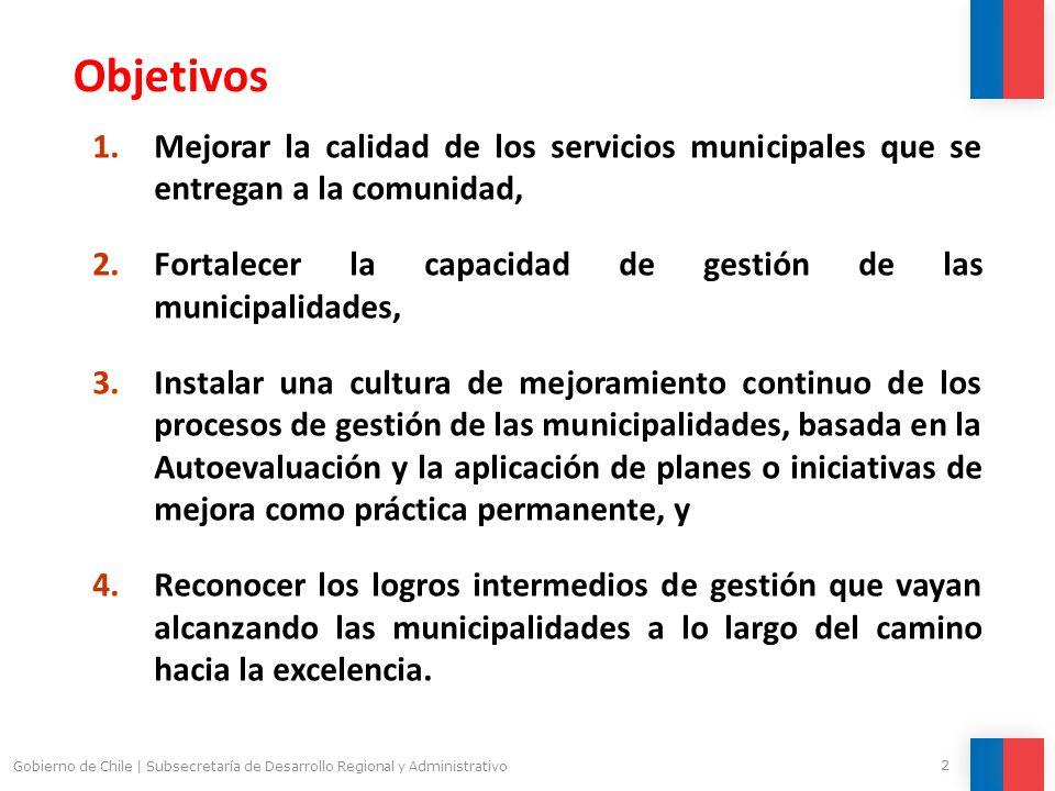 2 Gobierno de Chile | Subsecretaría de Desarrollo Regional y Administrativo 1.Mejorar la calidad de los servicios municipales que se entregan a la com