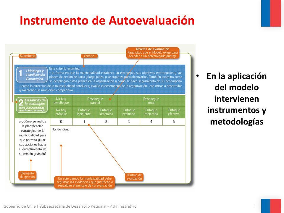 5 Gobierno de Chile | Subsecretaría de Desarrollo Regional y Administrativo Instrumento de Autoevaluación En la aplicación del modelo intervienen inst