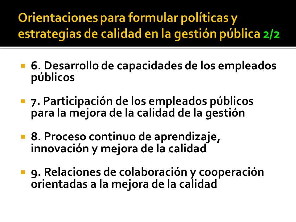 6. Desarrollo de capacidades de los empleados públicos 7. Participación de los empleados públicos para la mejora de la calidad de la gestión 8. Proces