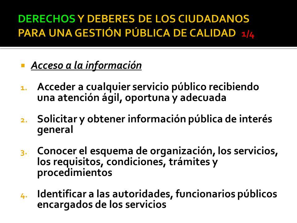 Acceso a la información 1. Acceder a cualquier servicio público recibiendo una atención ágil, oportuna y adecuada 2. Solicitar y obtener información p