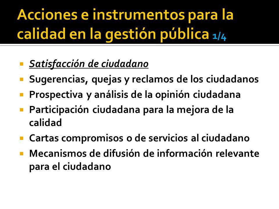 Satisfacción de ciudadano Sugerencias, quejas y reclamos de los ciudadanos Prospectiva y análisis de la opinión ciudadana Participación ciudadana para la mejora de la calidad Cartas compromisos o de servicios al ciudadano Mecanismos de difusión de información relevante para el ciudadano