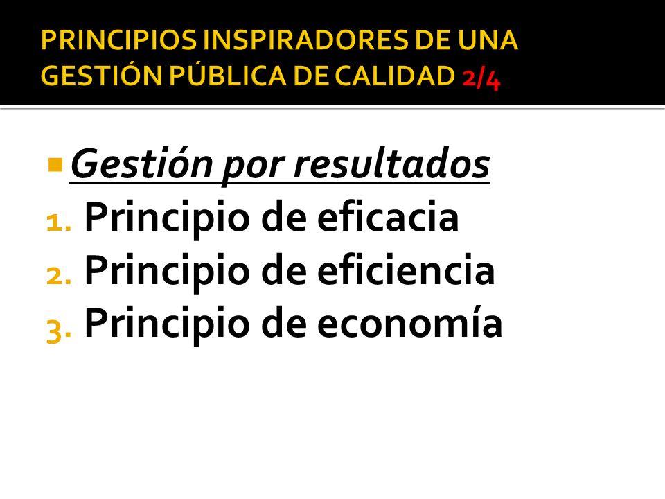 Gestión por resultados 1. Principio de eficacia 2. Principio de eficiencia 3. Principio de economía