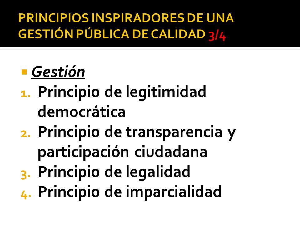 Gestión 1. Principio de legitimidad democrática 2. Principio de transparencia y participación ciudadana 3. Principio de legalidad 4. Principio de impa