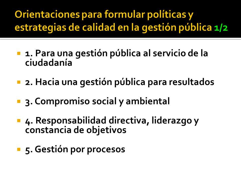 1. Para una gestión pública al servicio de la ciudadanía 2. Hacia una gestión pública para resultados 3. Compromiso social y ambiental 4. Responsabili