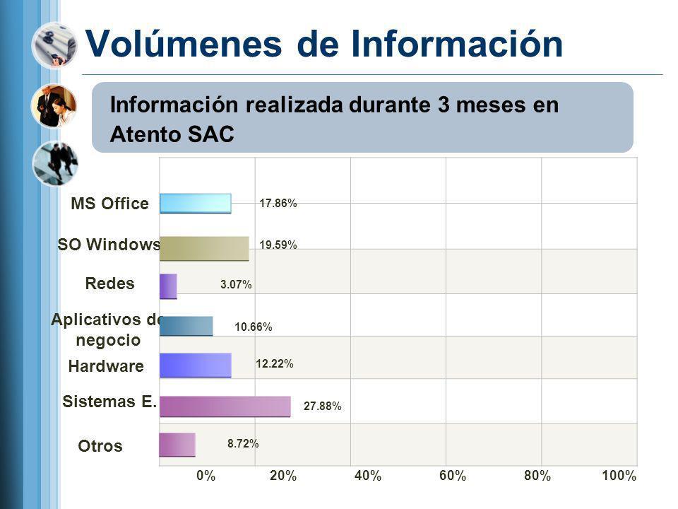 Volúmenes de Información MS Office SO Windows Redes Aplicativos de negocio Hardware Sistemas E. 0% 20% 40% 60% 80% 100% 17.86% 19.59% 3.07% 10.66% 12.