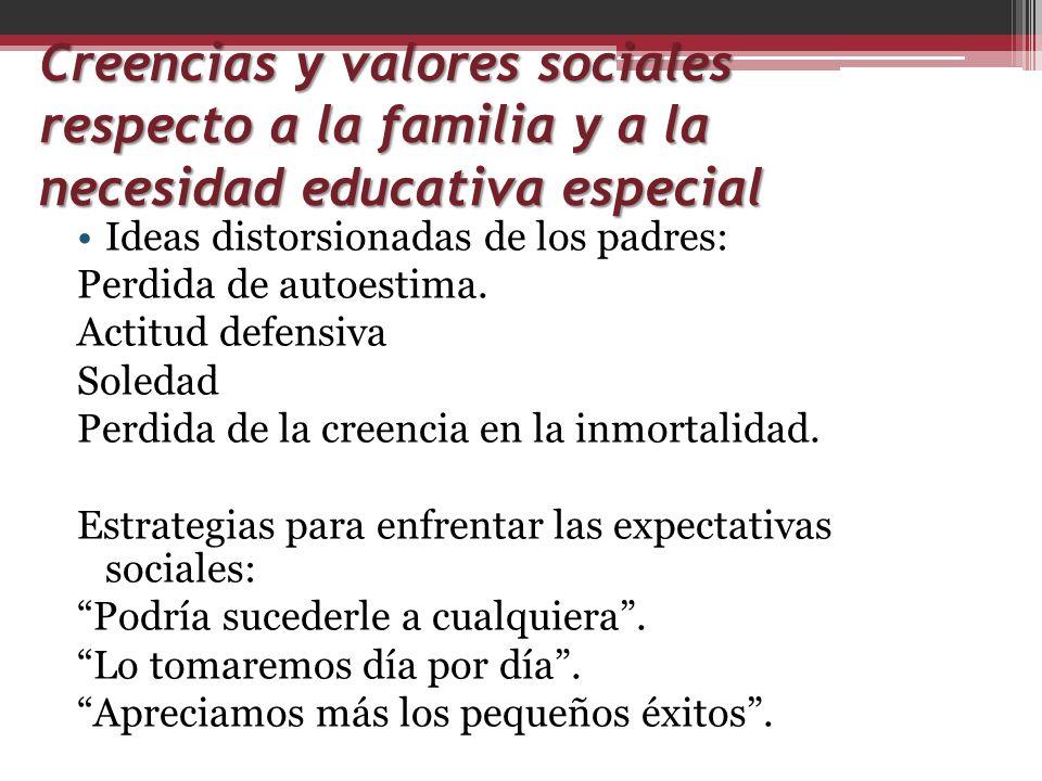 Creencias y valores sociales respecto a la familia y a la necesidad educativa especial Ideas distorsionadas de los padres: Perdida de autoestima. Acti