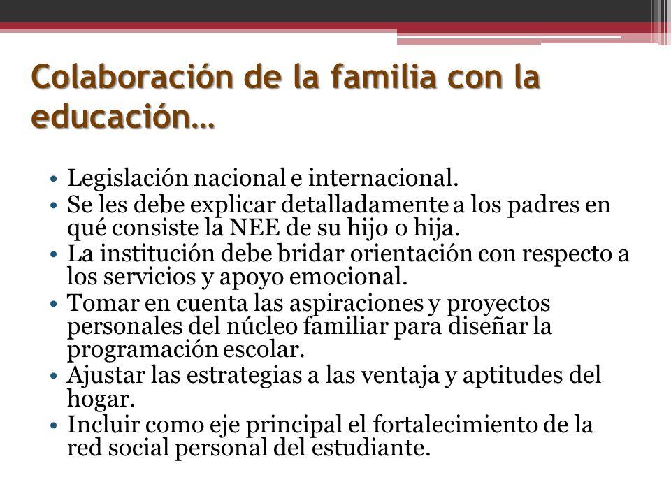 Colaboración de la familia con la educación… Legislación nacional e internacional. Se les debe explicar detalladamente a los padres en qué consiste la