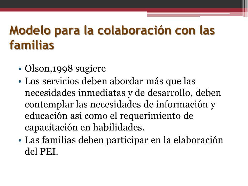 Modelo para la colaboración con las familias Olson,1998 sugiere Los servicios deben abordar más que las necesidades inmediatas y de desarrollo, deben