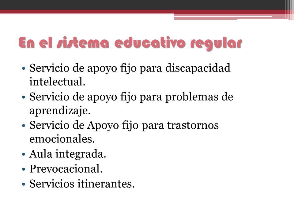 En el sistema educativo regular Servicio de apoyo fijo para discapacidad intelectual. Servicio de apoyo fijo para problemas de aprendizaje. Servicio d