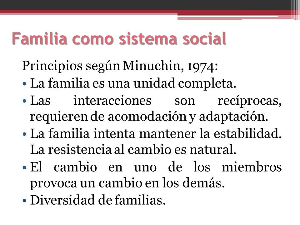 Familia como sistema social Principios según Minuchin, 1974: La familia es una unidad completa. Las interacciones son recíprocas, requieren de acomoda