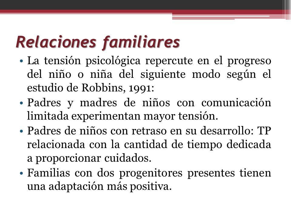 Relaciones familiares La tensión psicológica repercute en el progreso del niño o niña del siguiente modo según el estudio de Robbins, 1991: Padres y m