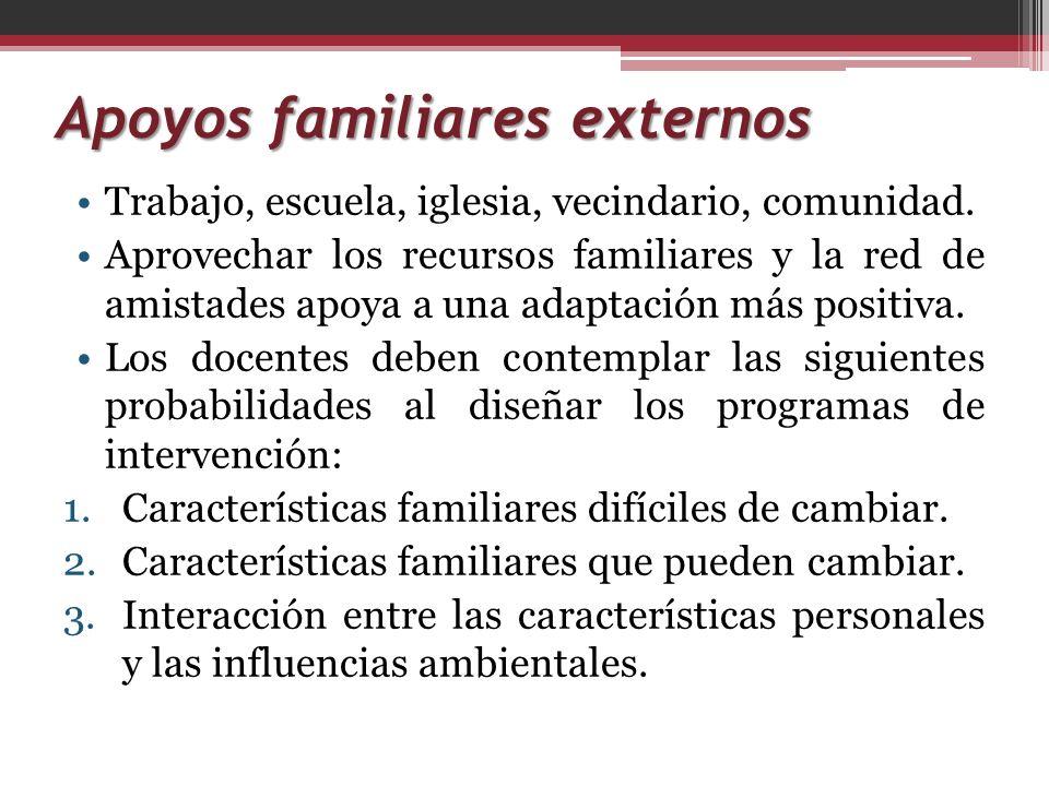 Interrelaciones entre contextos Como resultado del estudio de Lowitzer, 1989: Familias de menos recursos cuentan con menos fuentes y recursos de apoyo.