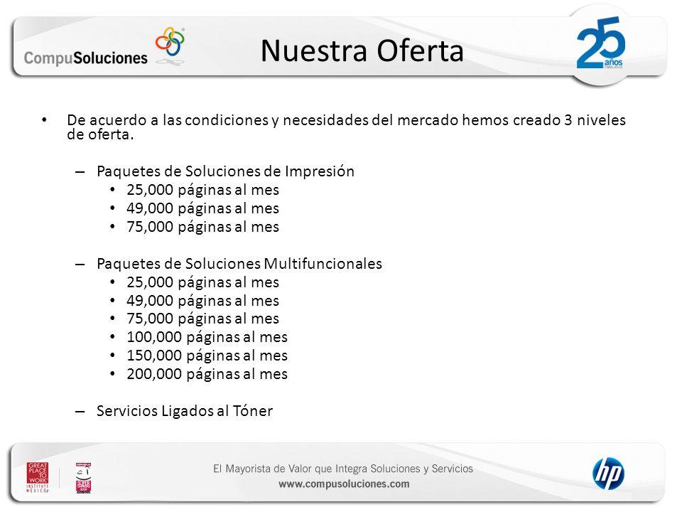 Nuestra Oferta De acuerdo a las condiciones y necesidades del mercado hemos creado 3 niveles de oferta. – Paquetes de Soluciones de Impresión 25,000 p