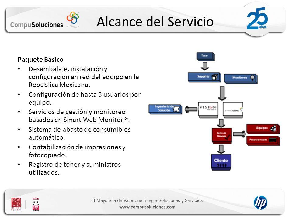 Alcance del Servicio Paquete Básico Desembalaje, instalación y configuración en red del equipo en la Republica Mexicana. Configuración de hasta 5 usua