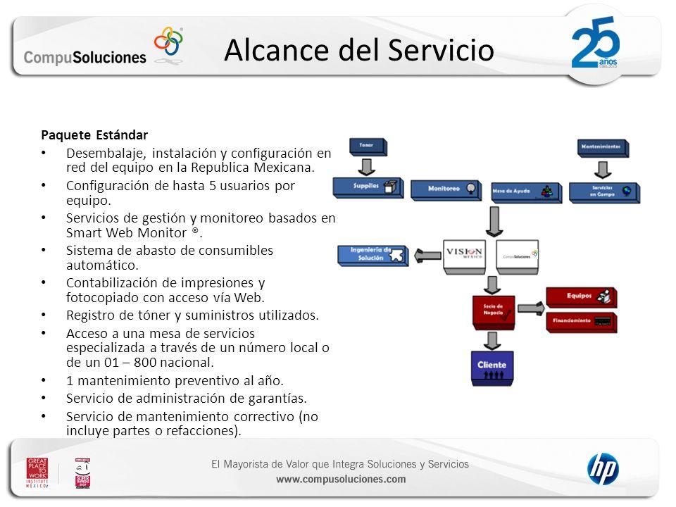 Alcance del Servicio Paquete Estándar Desembalaje, instalación y configuración en red del equipo en la Republica Mexicana. Configuración de hasta 5 us