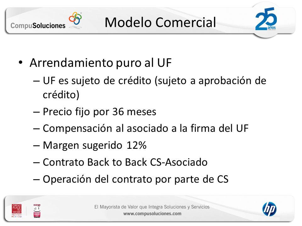 Modelo Comercial Arrendamiento puro al UF – UF es sujeto de crédito (sujeto a aprobación de crédito) – Precio fijo por 36 meses – Compensación al asoc