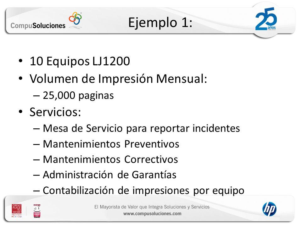 Ejemplo 1: 10 Equipos LJ1200 Volumen de Impresión Mensual: – 25,000 paginas Servicios: – Mesa de Servicio para reportar incidentes – Mantenimientos Pr
