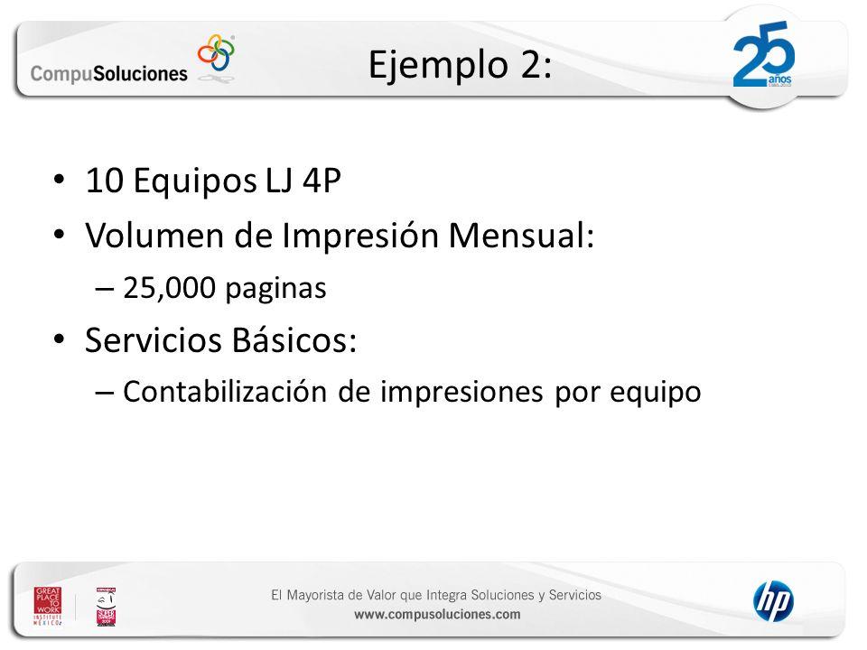 Ejemplo 2: 10 Equipos LJ 4P Volumen de Impresión Mensual: – 25,000 paginas Servicios Básicos: – Contabilización de impresiones por equipo