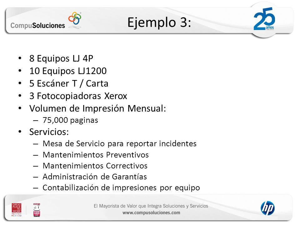 Ejemplo 3: 8 Equipos LJ 4P 10 Equipos LJ1200 5 Escáner T / Carta 3 Fotocopiadoras Xerox Volumen de Impresión Mensual: – 75,000 paginas Servicios: – Me