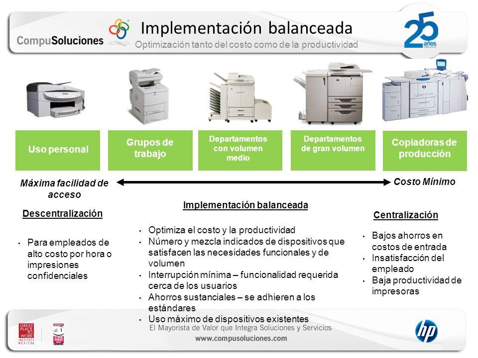 Implementación balanceada Optimización tanto del costo como de la productividad Para empleados de alto costo por hora o impresiones confidenciales Opt