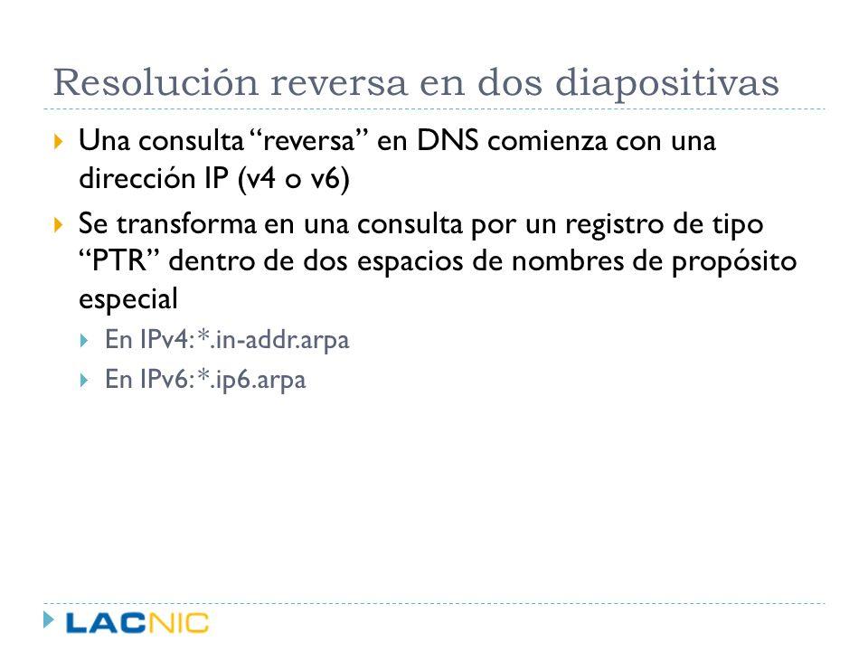 Resolución reversa en dos diapositivas Una consulta reversa en DNS comienza con una dirección IP (v4 o v6) Se transforma en una consulta por un regist