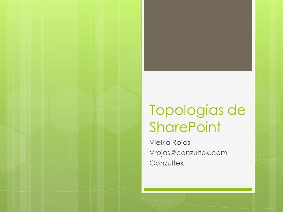 Topologías de SharePoint Vielka Rojas Vrojas@conzultek.com Conzultek