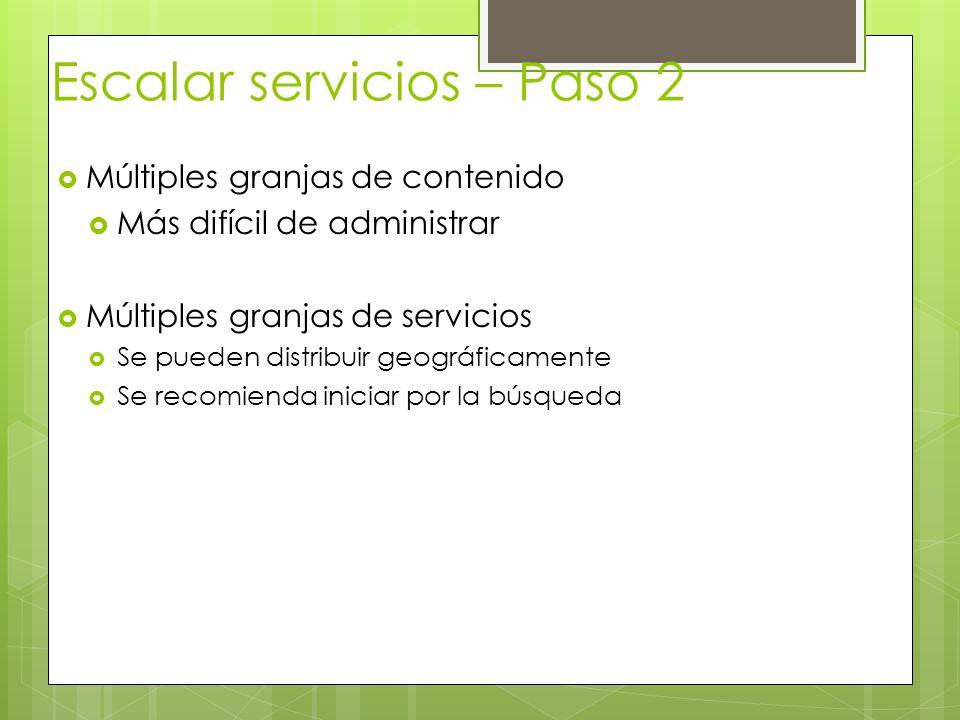 Escalar servicios – Paso 2 Múltiples granjas de contenido Más difícil de administrar Múltiples granjas de servicios Se pueden distribuir geográficamen