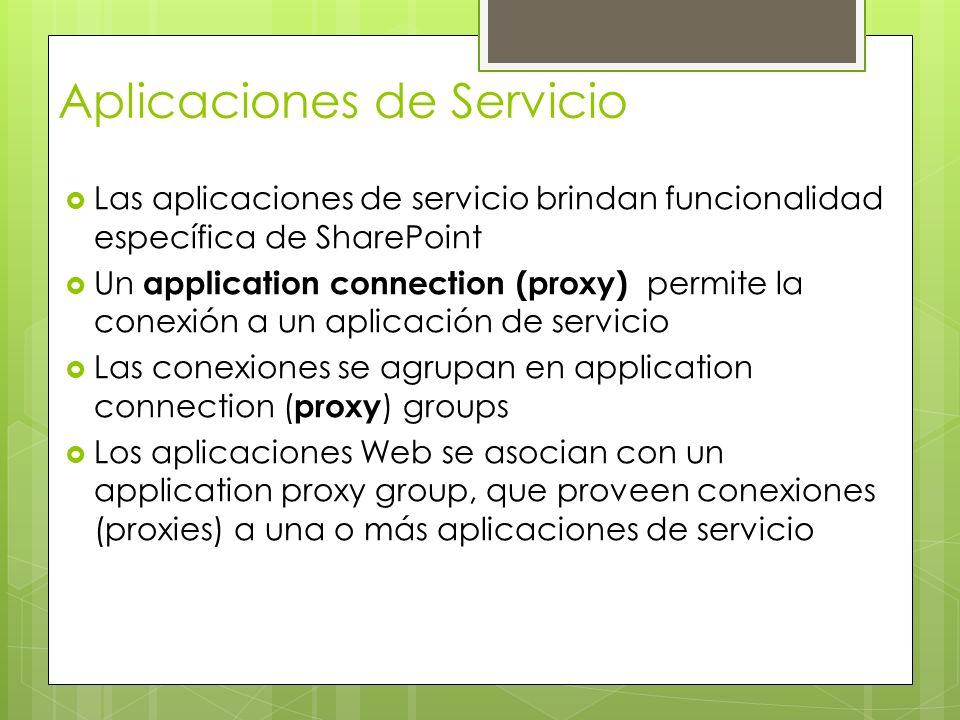 Las aplicaciones de servicio brindan funcionalidad específica de SharePoint Un application connection (proxy) permite la conexión a un aplicación de s