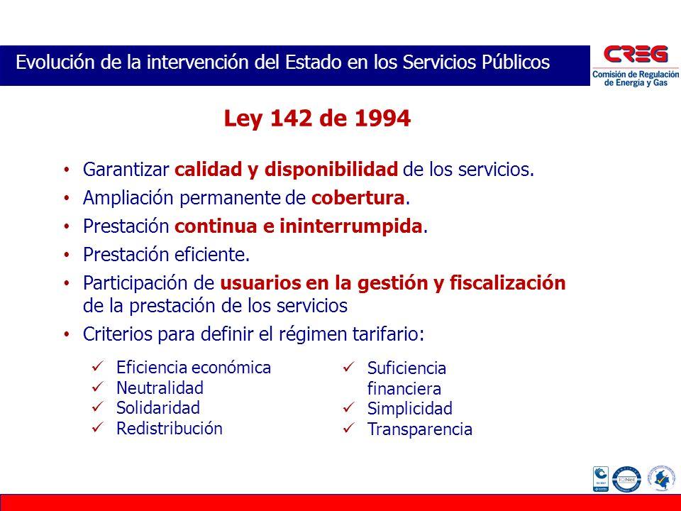 Evolución de la intervención del Estado en los Servicios Públicos Garantizar calidad y disponibilidad de los servicios. Ampliación permanente de cober