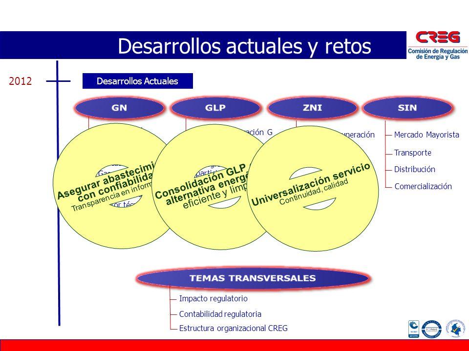 Desarrollos actuales y retos Desarrollos Actuales 2012 Confiabilidad Subastas Contratos estándar Mercado secundario Gas en boca de pozo Bases remunera