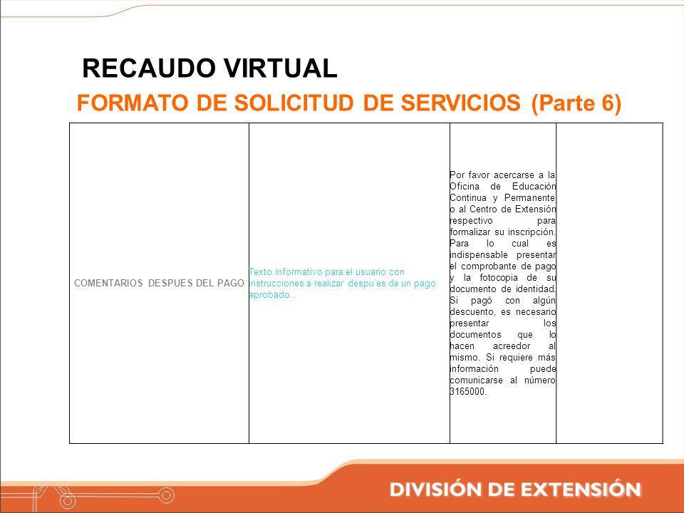 COMENTARIOS DESPUES DEL PAGO Texto informativo para el usuario con instrucciones a realizar despu'es de un pago aprobado.. Por favor acercarse a la Of