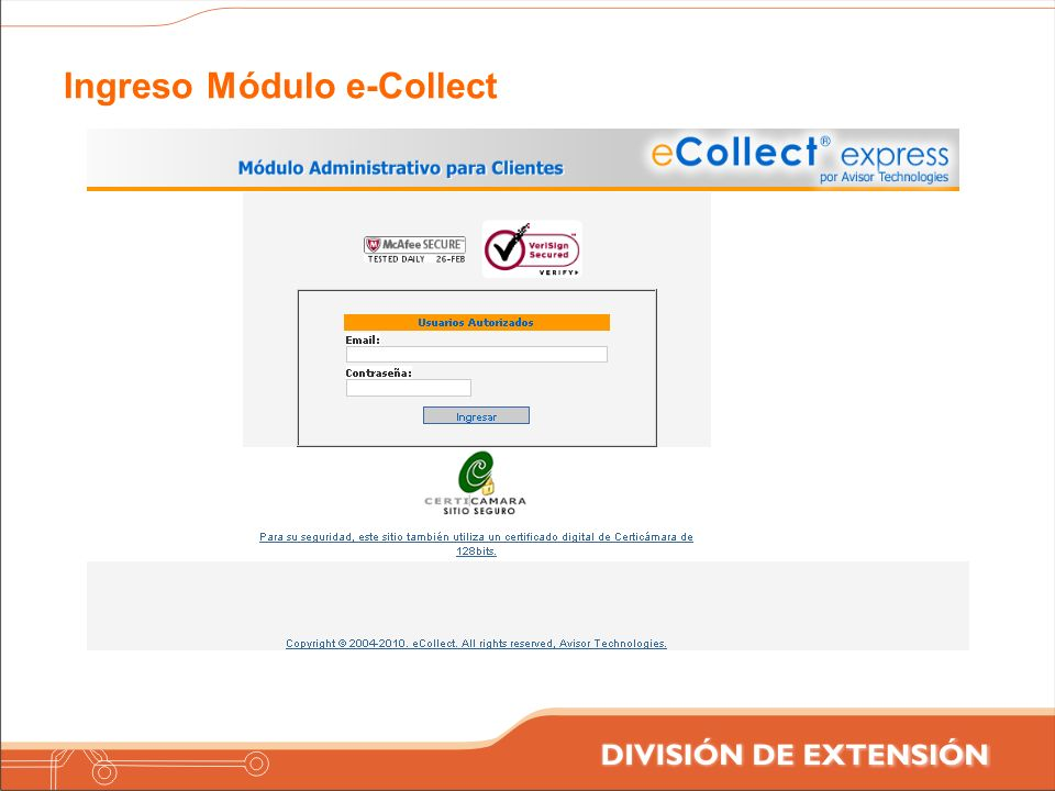 Ingreso Módulo e-Collect