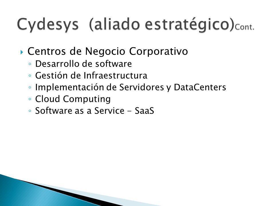 Centros de Negocio Corporativo Desarrollo de software Gestión de Infraestructura Implementación de Servidores y DataCenters Cloud Computing Software as a Service - SaaS